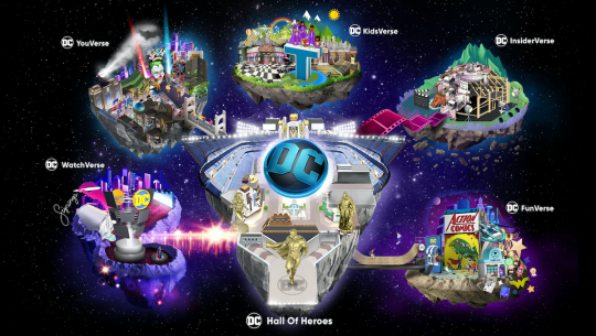 DC FanDome hub, featuring space islands representing different DC channels (YouVerse, KidsVerse, InsiderVerse, WatchVerse, FunVerse, and Hall of Heroes)