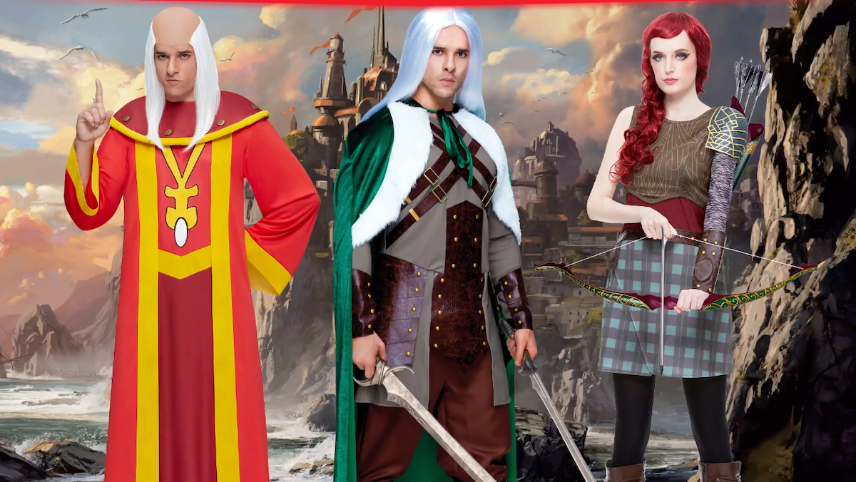 Three models wear wizard, knight, and archer costumes.