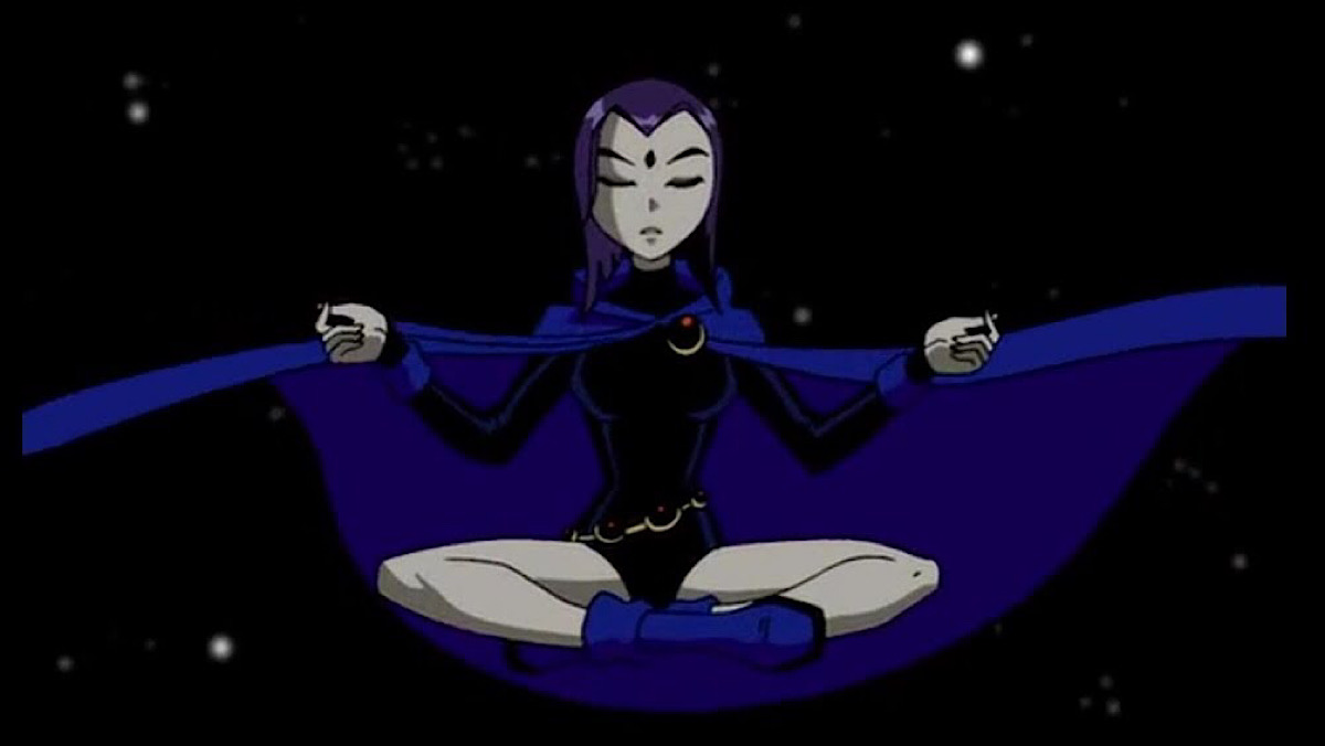 Raven meditates in Teen Titans.