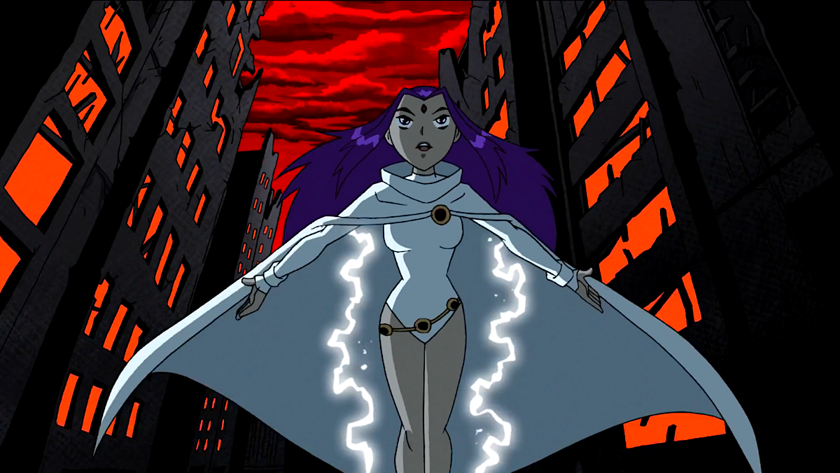 Teen Titans' Raven in her white cloak.