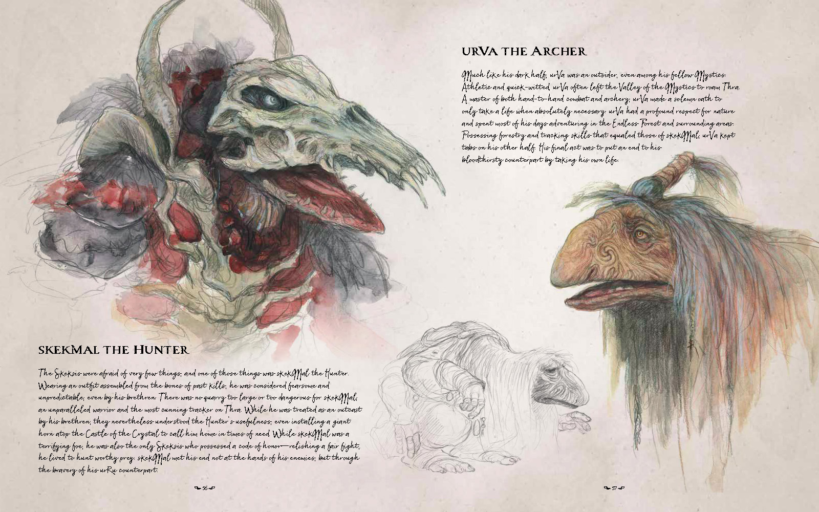 skekMal and urVa illustration from Dark Crystal Bestiary