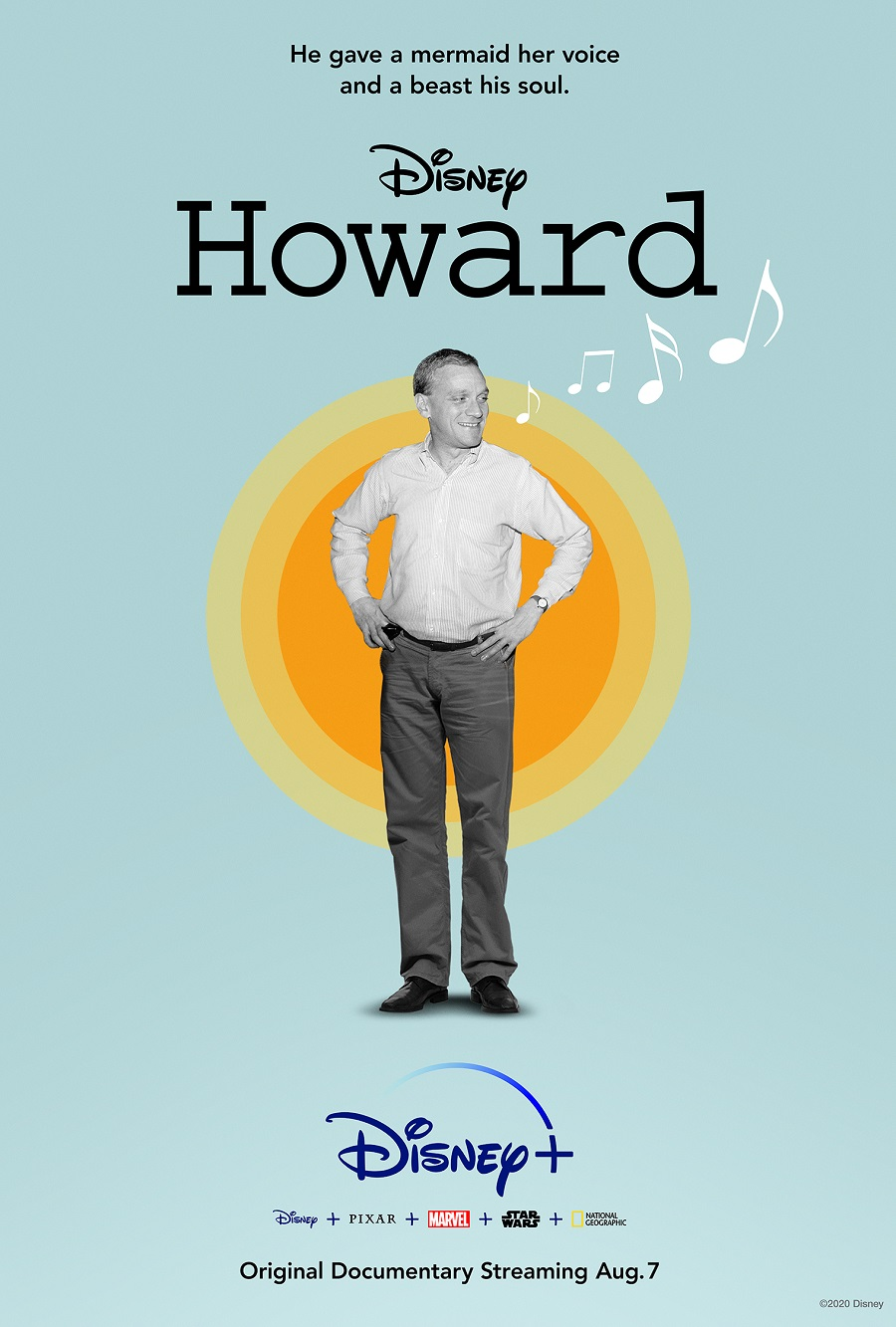 A photo of Howard Ashman on the poster for Disney+ biopic Howard.