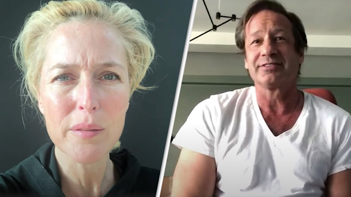 A split-screen image of Gillian Anderson and David Duchovny.