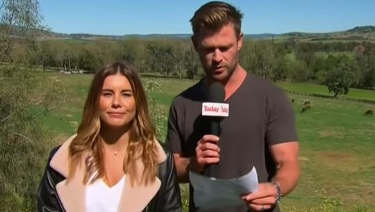 Chris Hemsworth reading the weather