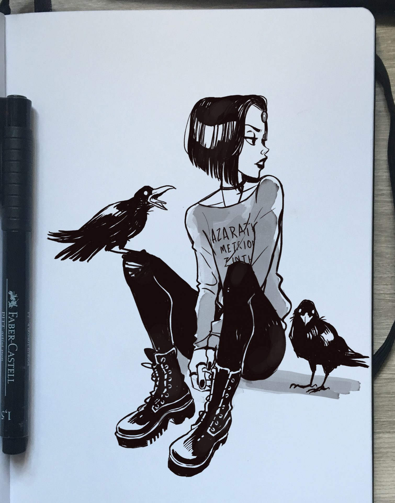 sketch of Teen Titans' Raven by Gabriel Picolo
