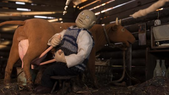 The Old Man movie is a stop-motion movie about milking cows.