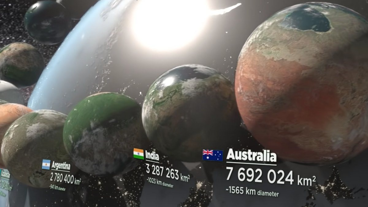 This video compares the surface areas of different countries, if they were planets.
