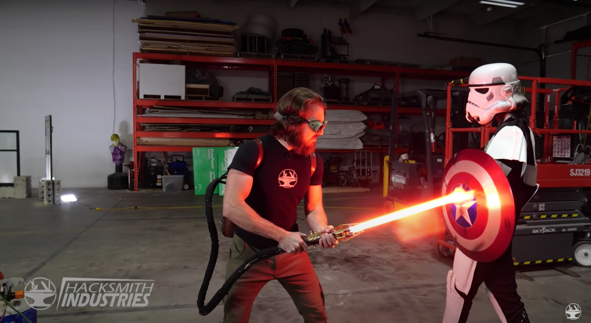 This IRL plasma protosaber can cut through quarter-inch-thick steel plates.