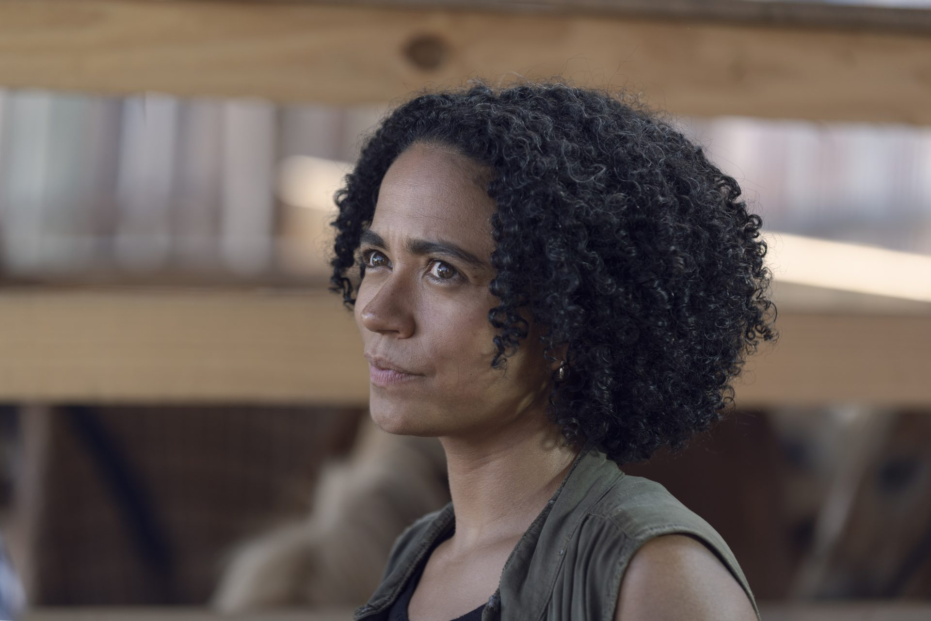 The Walking Dead character Connie stares off camera