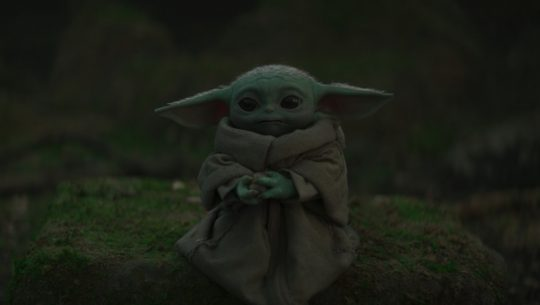 "Baby Yoda aka Grogu in ""The Jedi"" episode from The Mandalorian."