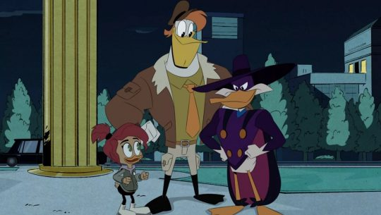 Gosalyn, Launchpad, and Darkwing Duck on DuckTales.