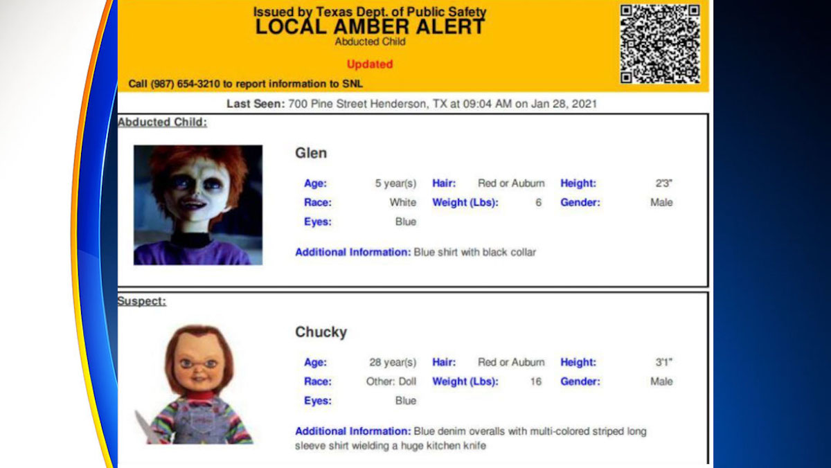 Oops! Texas Puts Out AMBER Alert for CHILD'S PLAY's Chucky_1