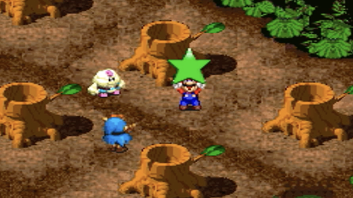 Mario wields a star in the woods, beside his new friends Mallow and Geno.