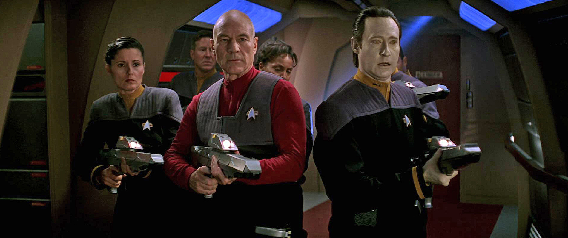 The crew of the Enterprise face off a Borg invasion in Star Trek: First Contact