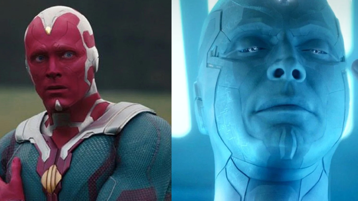 Paul Bettany as classic Vision and White Vision in the final chapter of WandaVision.