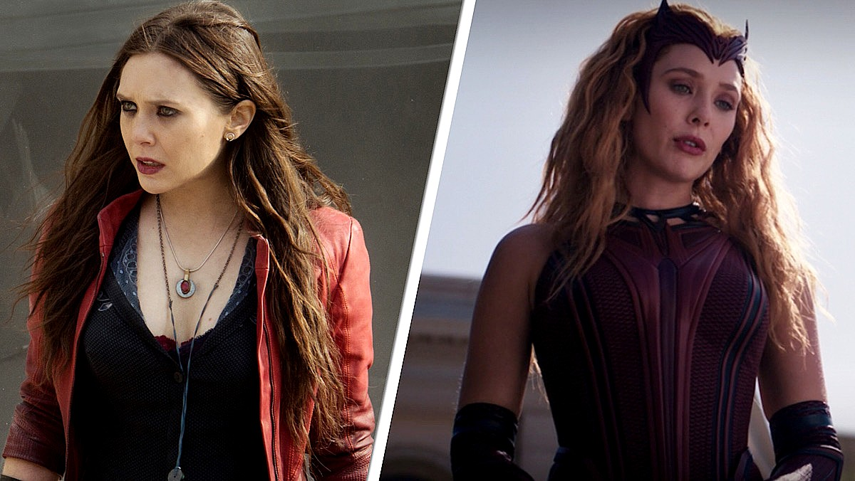 A split-screen image of Wanda Maximoff in her red coat from Avengers: Age of Ultron, contrasted with Wanda as Scarlet Witch in costume in WandaVision.