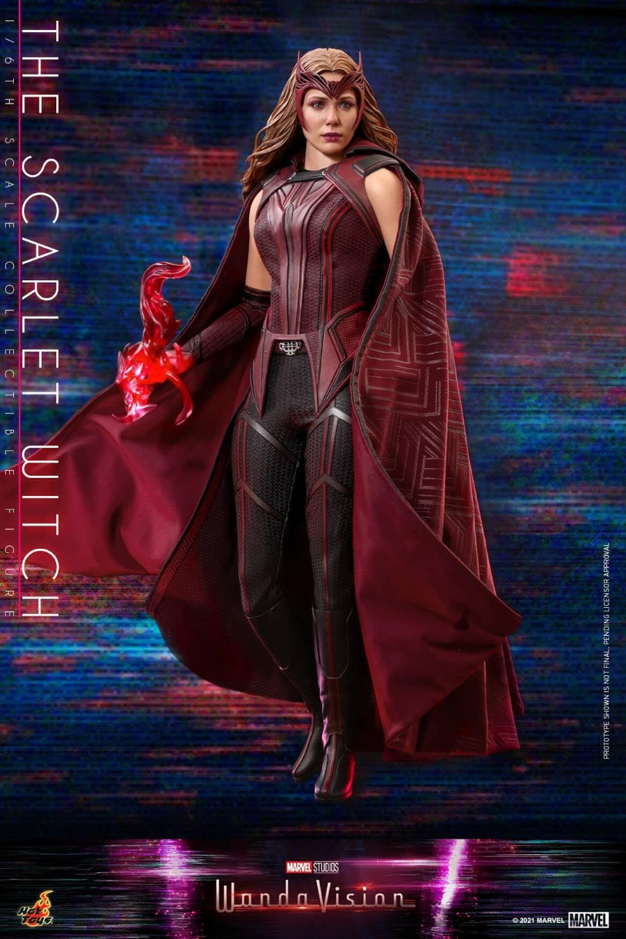 Hot Toys Scarlet Witch figurine shows Wanda Maximoff from WandaVision using Chaos Magic.
