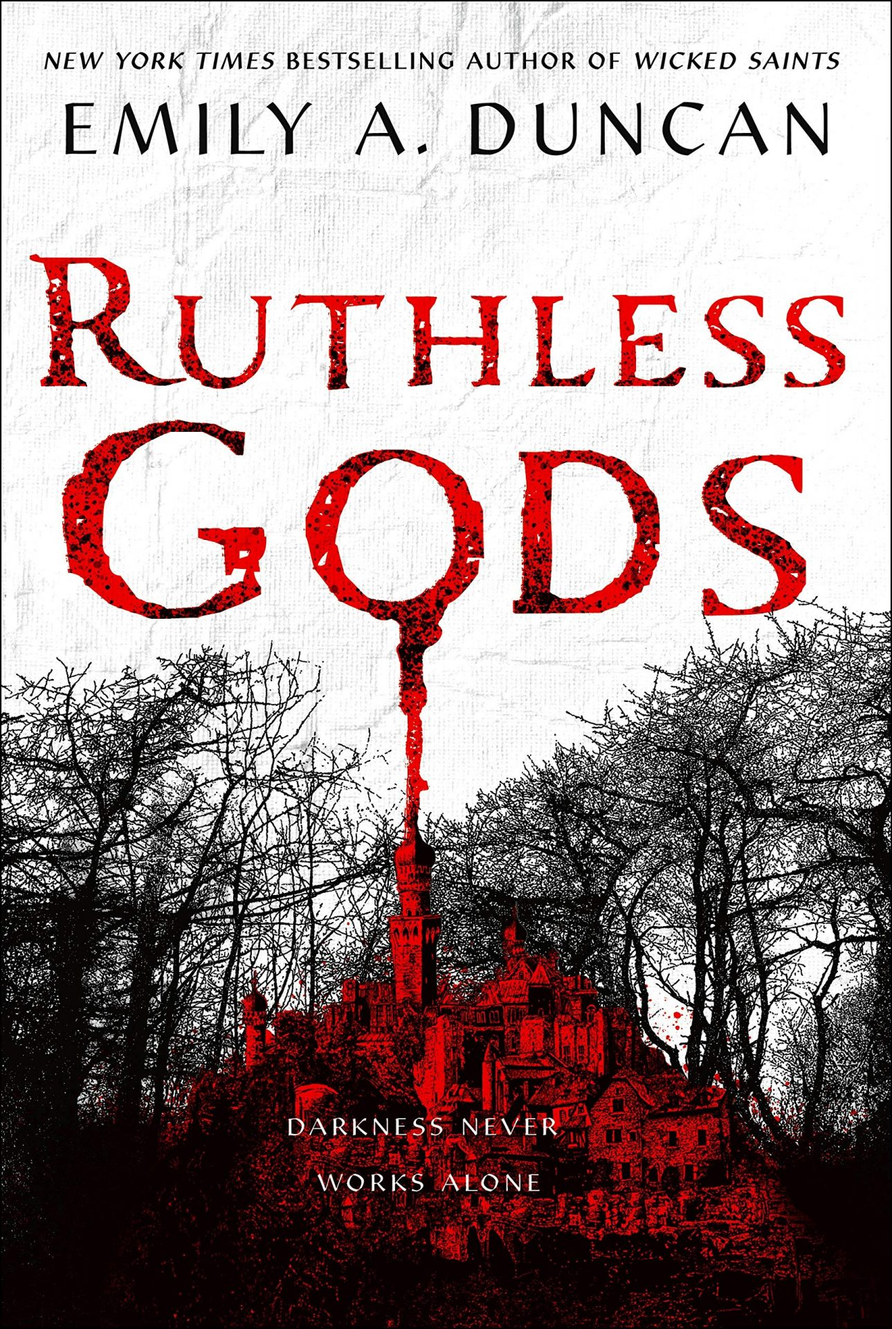 The cover of Emily A. Duncan's Ruthless Gods, showing a castle surrounded by trees..