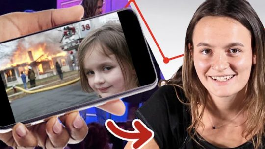 The Disaster Girl meme shown ona. phone next to the grown up woman from the picture