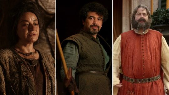 A triple image of Mirra Maz Duur, Syrio Forel, and Illyrio Mopatis from game of Thrones season one