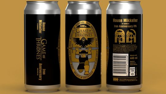 Three cans of Mikkeller Brewery's Game of Thrones Tenth Anniversary IPA