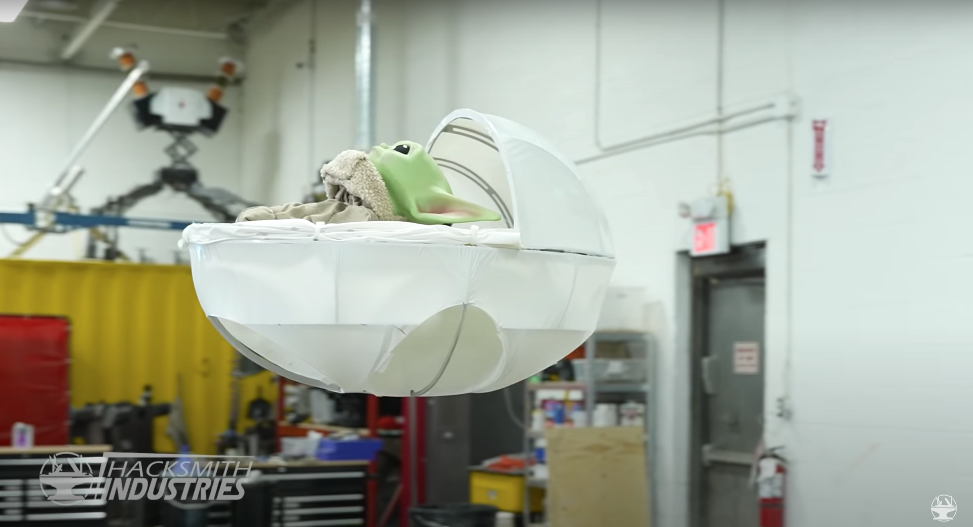 Engineers at The Hacksmith YouTube channel made a real-life Baby Yoda cradle that can float and identify storm troopers.