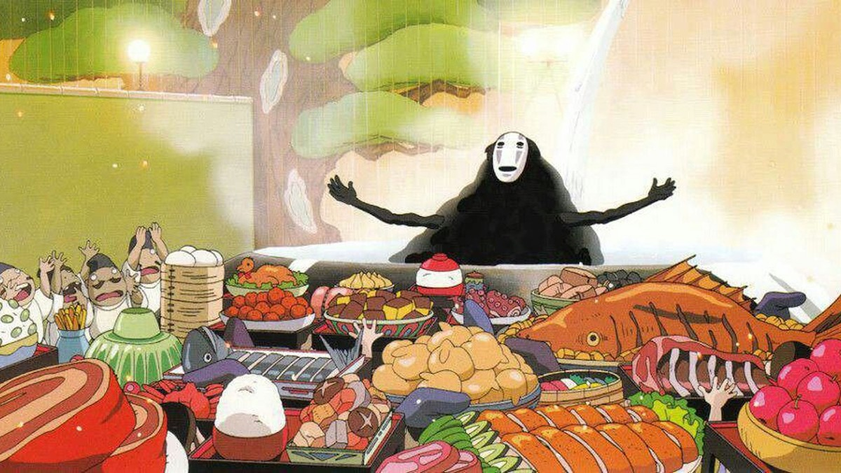 Spirited Away's No-Face stretches out their arms in front of a glorious feast