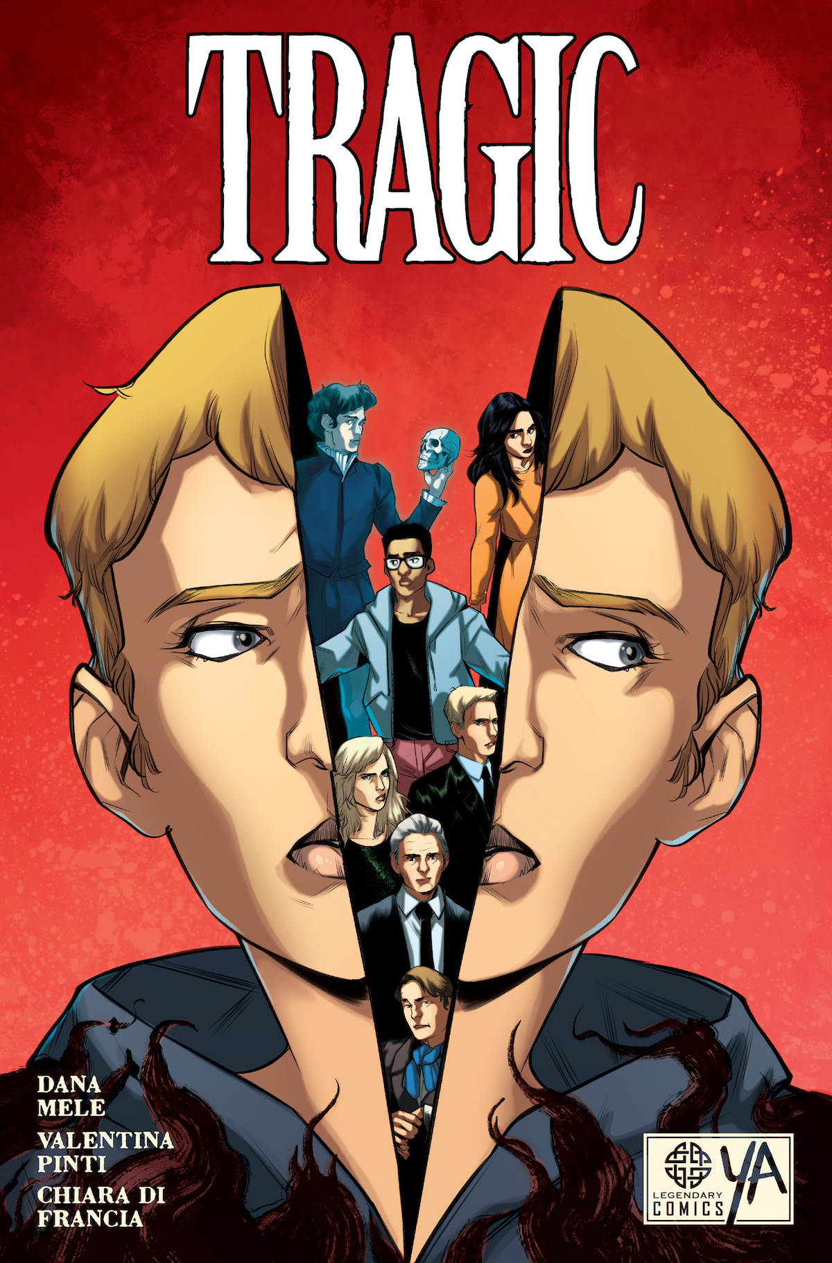 The full front cover of the graphic novel Tragic, which shows a character's head split apart with smaller characters inside