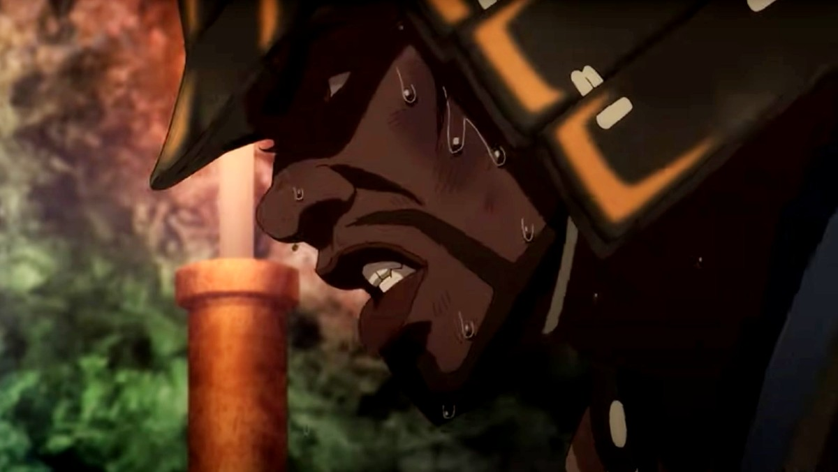 Yasuke dons armor and sweats in a still from the anime trailer.