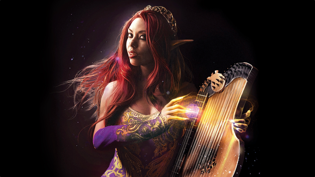 Sirens: Battle of the Bards - a character playing a glowing instrument
