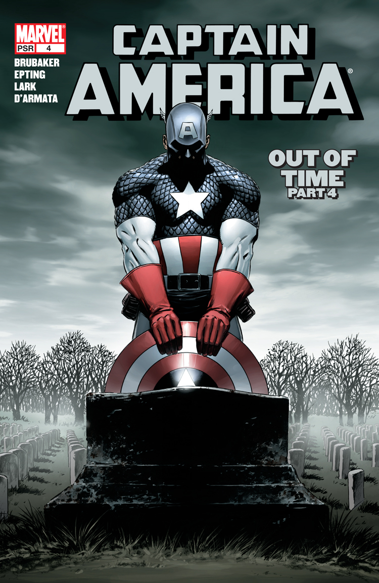 The cover for Captain America #4 Steve Rogers kneels over the sheild