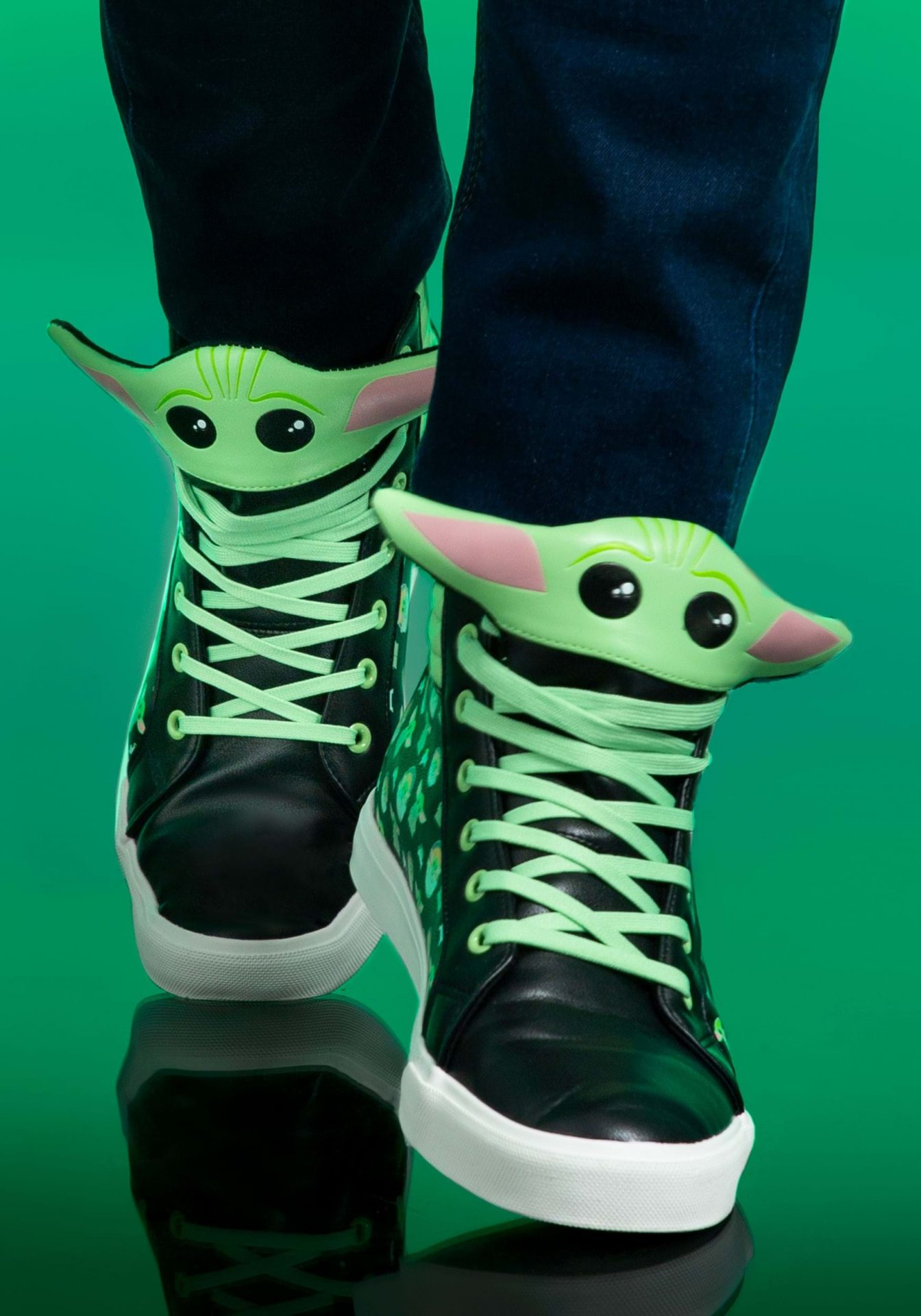 Show your love for Baby Yoda with these incredible (and very green) shoes from Fun.com