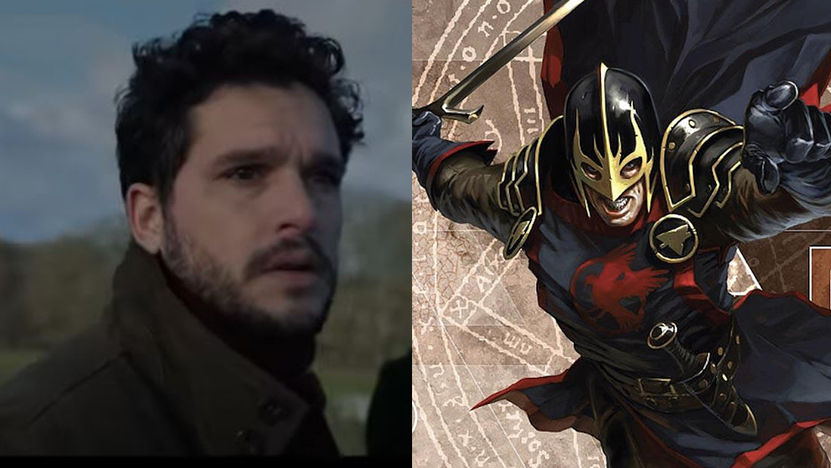 Kit Harington as Dane Whitman in The Eternals, next to his Marvel Comics counterpart the Black Knight.