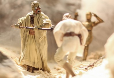 Luke vs. the Tusken Raiders from A New Hope, captured by Hasbro Black Series figures.