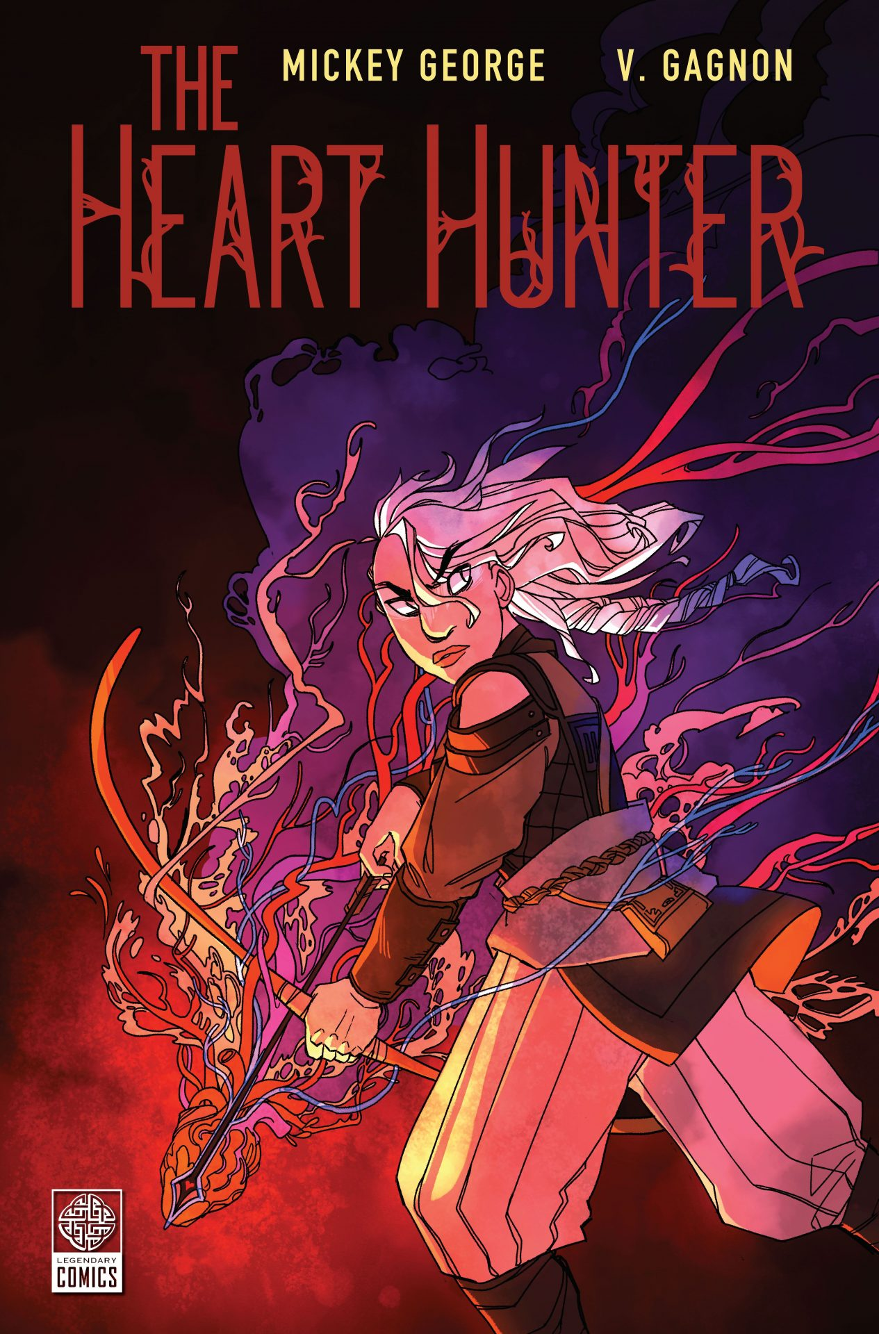 The cover of The Heart Hunter, with an illustrated woman wielding a bow made from a heart.