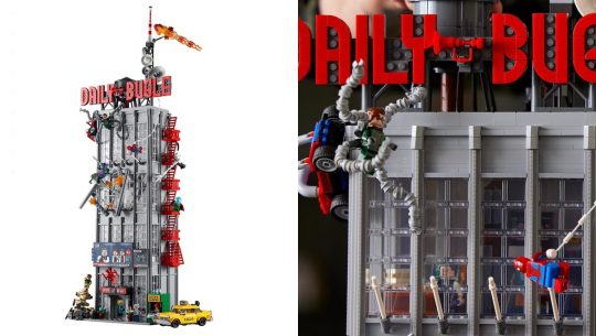 Split screen with LEGO's full Daily Bugle set completely constructed and a detail of the outside with Dr Ock and Spider-Man minifigs