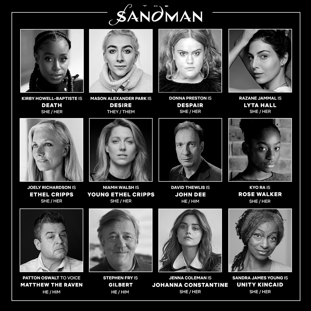 The Sandman cast as a collection of black and white headshots