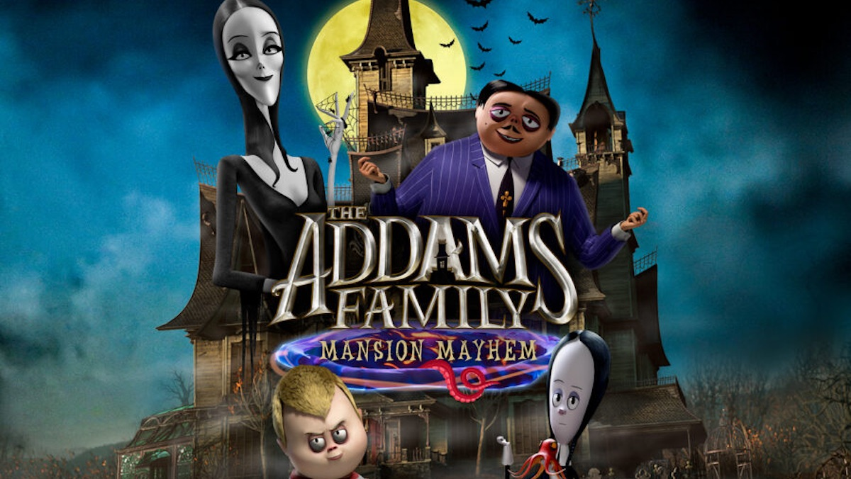 The animated Addams Family center picture with their mansion behind them