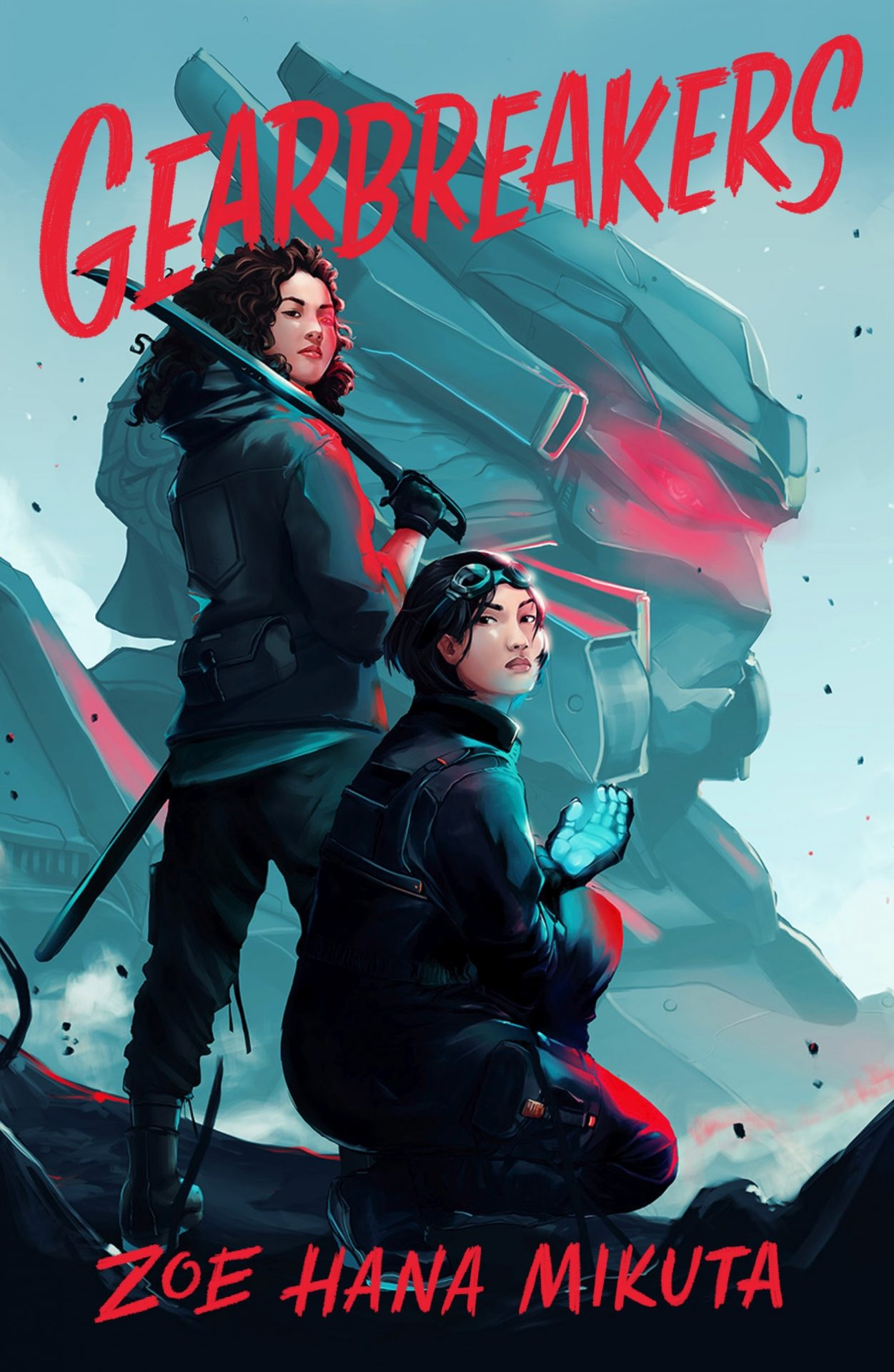 The cover for Gearbreakers shows two women in front of a giant mech, one stands holding a sword and the other kneels
