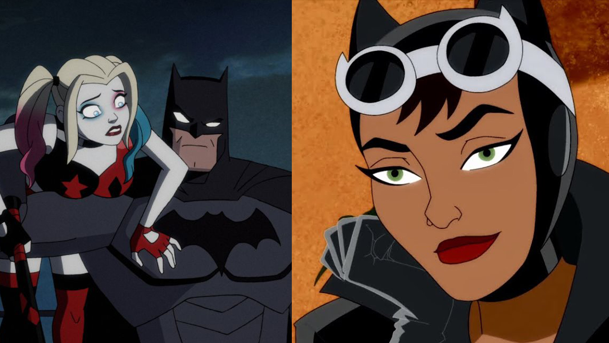 Harley, Batman. and Catwoman as they appear in the HBO Max Harley Quinn animated series.