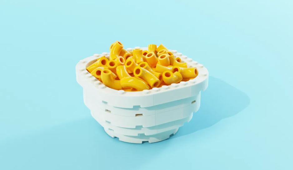 This LEGO mac and cheese has actual scoopable pieces.
