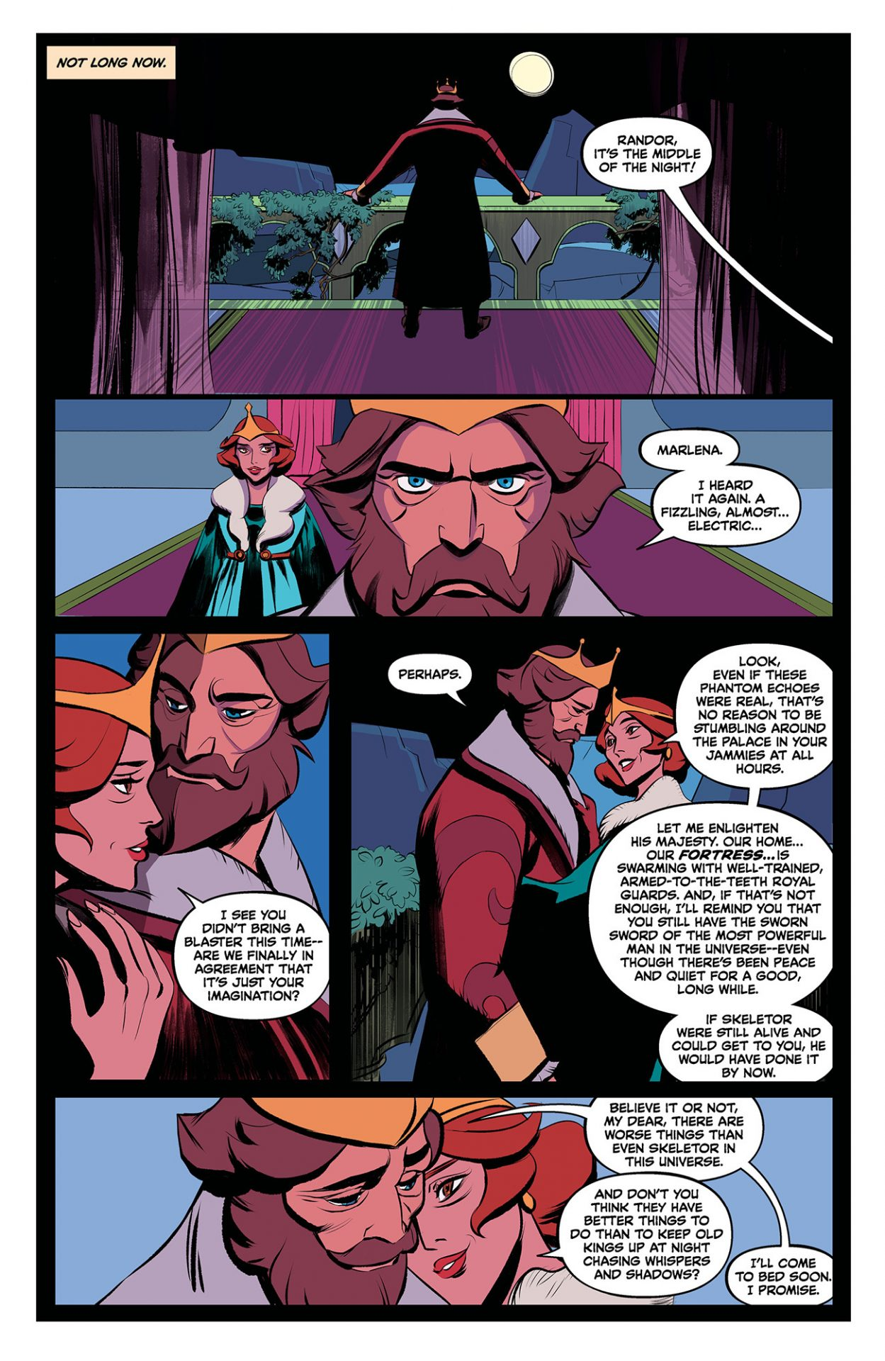The first page from Dark Horse Comics' Masters of the Universe: Revelation feature's He-Man's parents, King Randor and Queen Marlena.