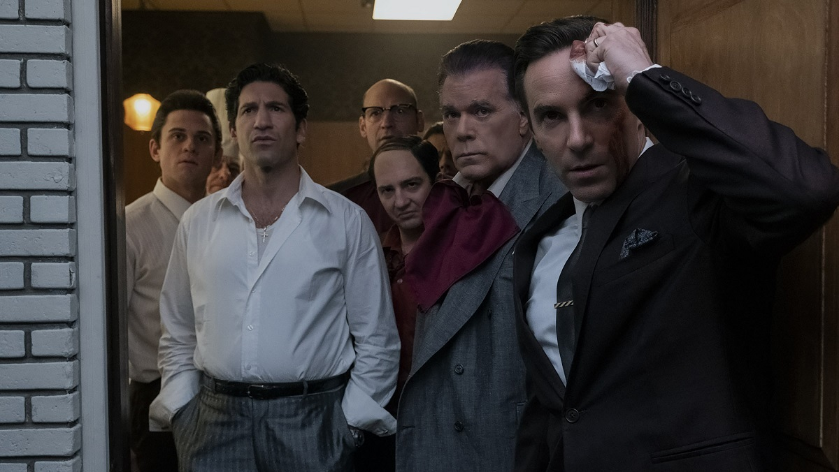 """(L-r) BILLY MAGNUSSEN as Paulie Walnuts, JON BERNTHAL as Johnny Soprano, COREY STOLL as Junior Soprano (in back), JOHN MAGARO as Silvio Dante, RAY LIOTTA as """"Hollywood Dick"""" Moltisanti and ALESSANDRO NIVOLA as Dickie Moltisanti in New Line Cinema and Home Box Office's mob drama """"THE MANY SAINTS OF NEWARK,"""" a Warner Bros. Pictures release. Photo by Barry Wetcher"""