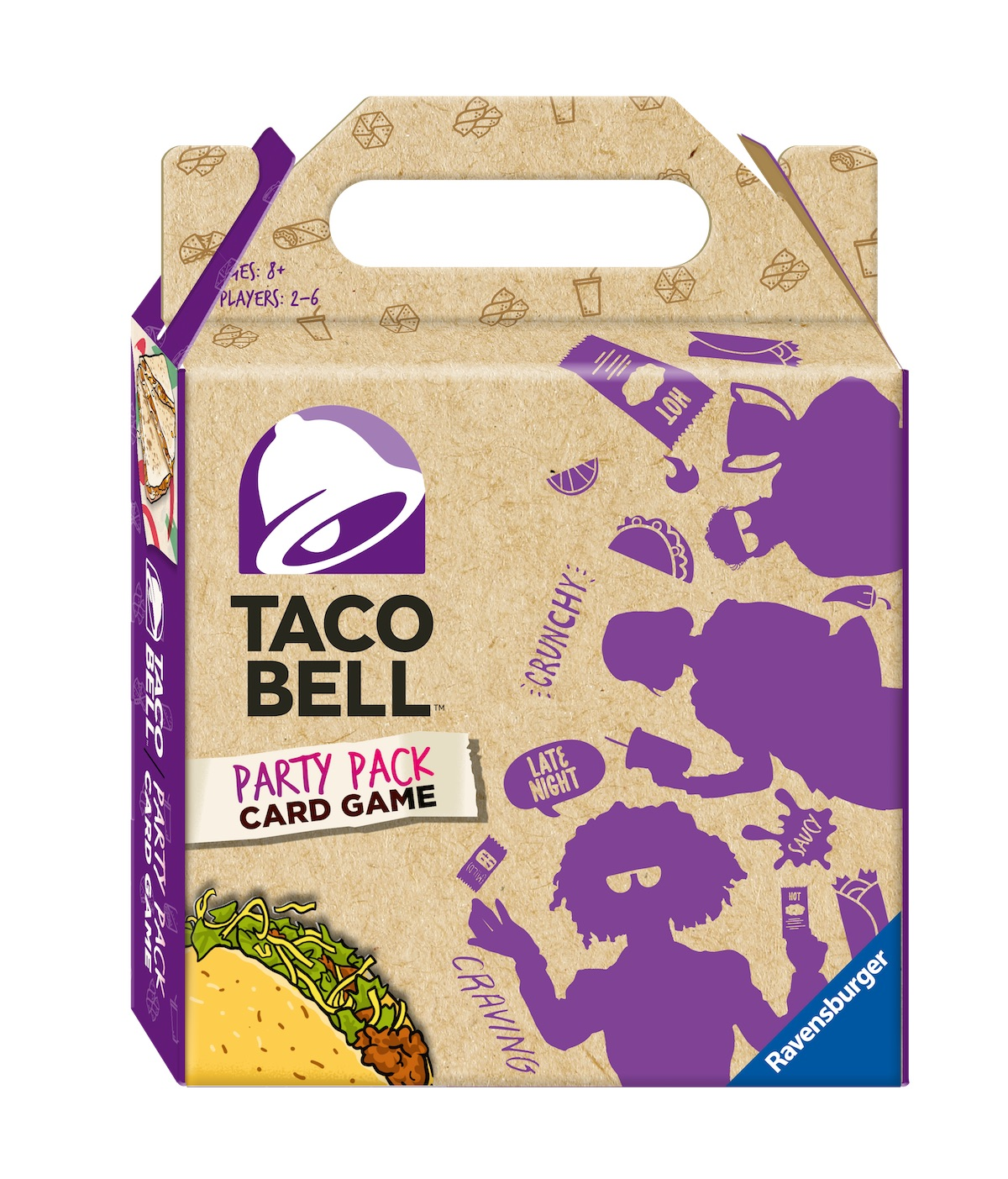 A cardboard Taco Bell carry put box for a board game