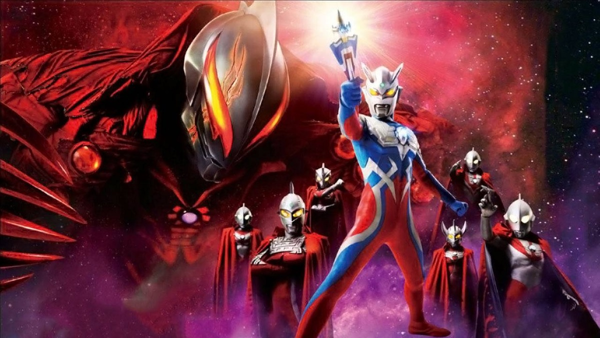 Ultraman Zero stands heroically brandishing a weapon, surrounded by many other Ultramans, while the massive, foreboding visage of Ultraman Belial looms.