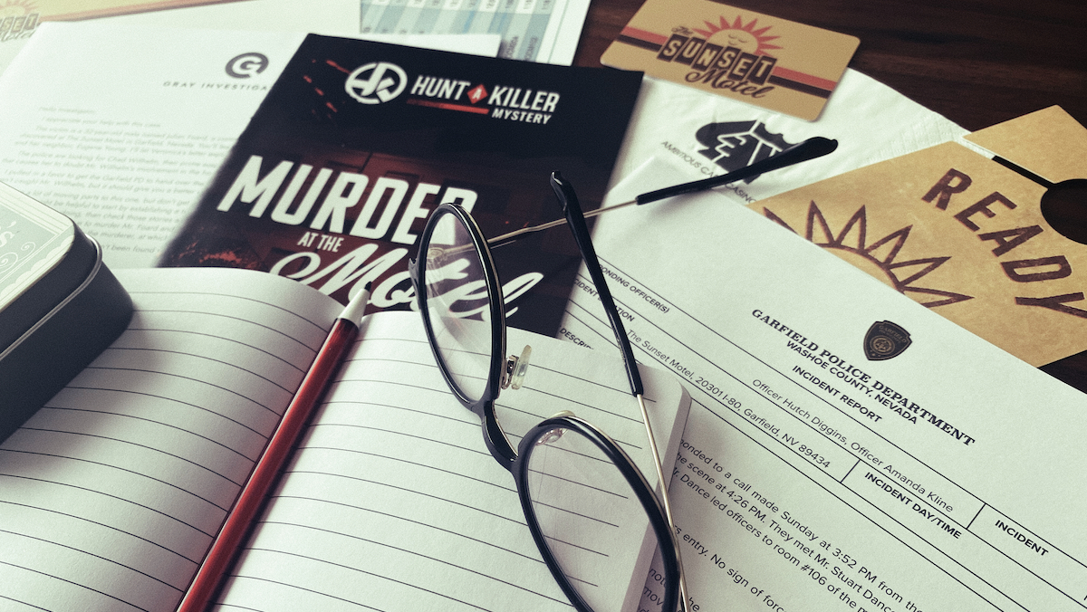 Murder at the Motel from Hunt a Killer featuring a notebook and clues