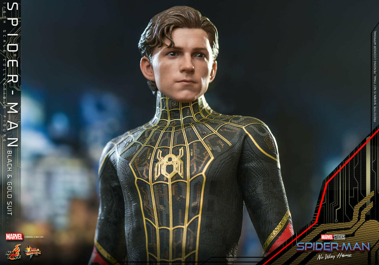 The Spider-Man: No Way Home Hot Toys figure with unmasked Peter Parker head.