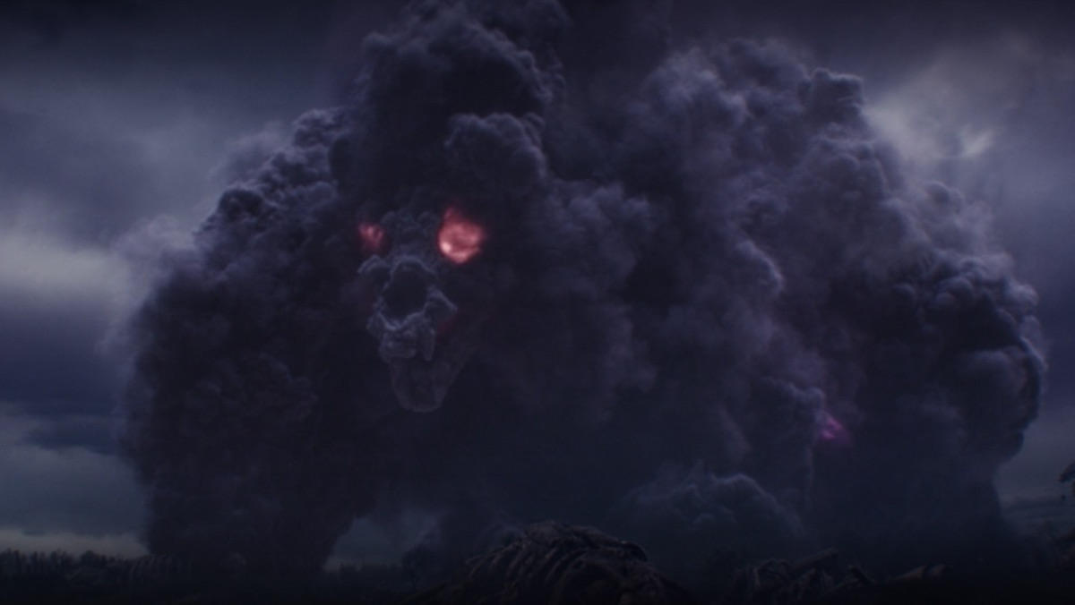 A giant purple cloud monster with red eyes and a mouth forming