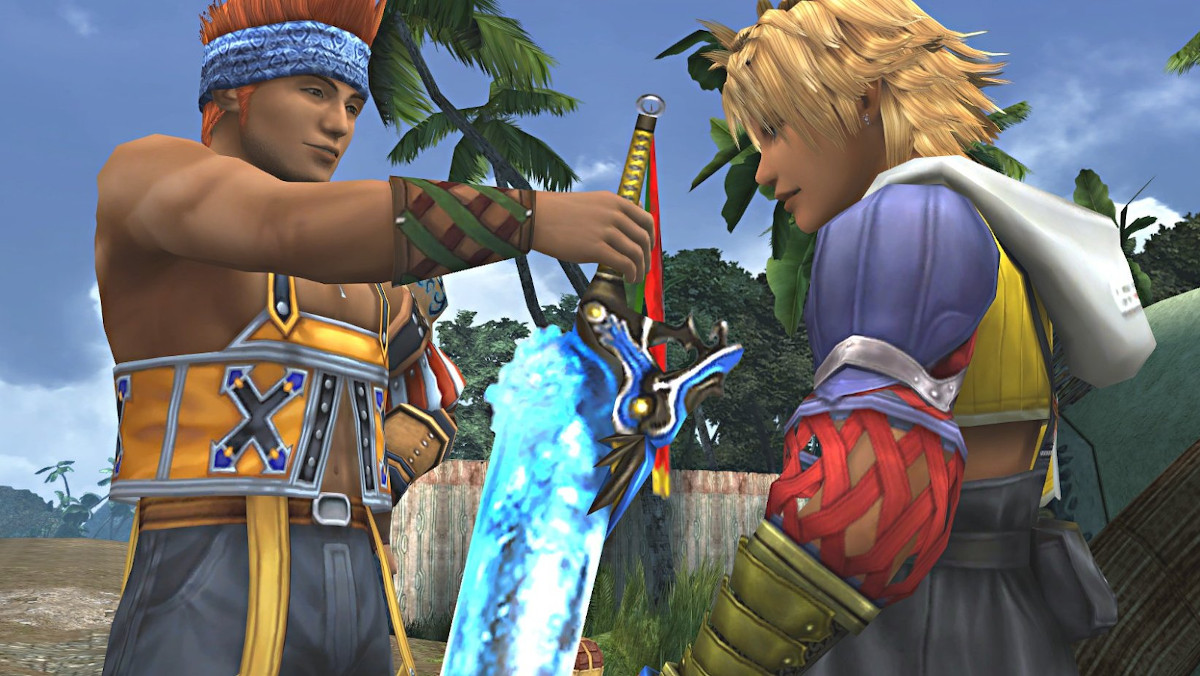 A Final Fantasy character handing another one a blue glowing sword