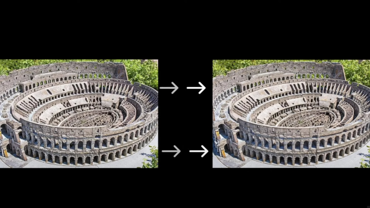 An image of the Roman Colosseum, with arrows dictating the direction of how an AI is going to give the image motion.